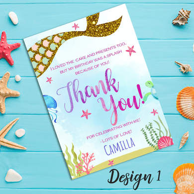 Aspire Designs Personalised Mermaid Themed Birthday Party Thank You Cards 10 / Yes / Design 1