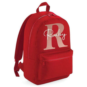 Aspire Designs Personalised Mini / Large Backpack | Girls Boys Name Kids School Bag Rucksack Large / Classic Red