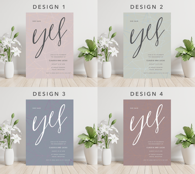 Aspire Designs Personalised Minimalist Typography Engagement Party Invites 10 / Yes / Design 1