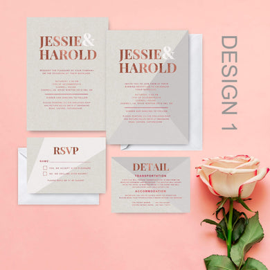 Aspire Designs Personalised Modern Geometric Design Wedding Invitation Packs | Wedding Day/Evening RSVP Info Card Set