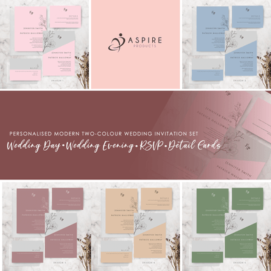 Aspire Designs Personalised Modern Minimalist Wedding Invitation Cards