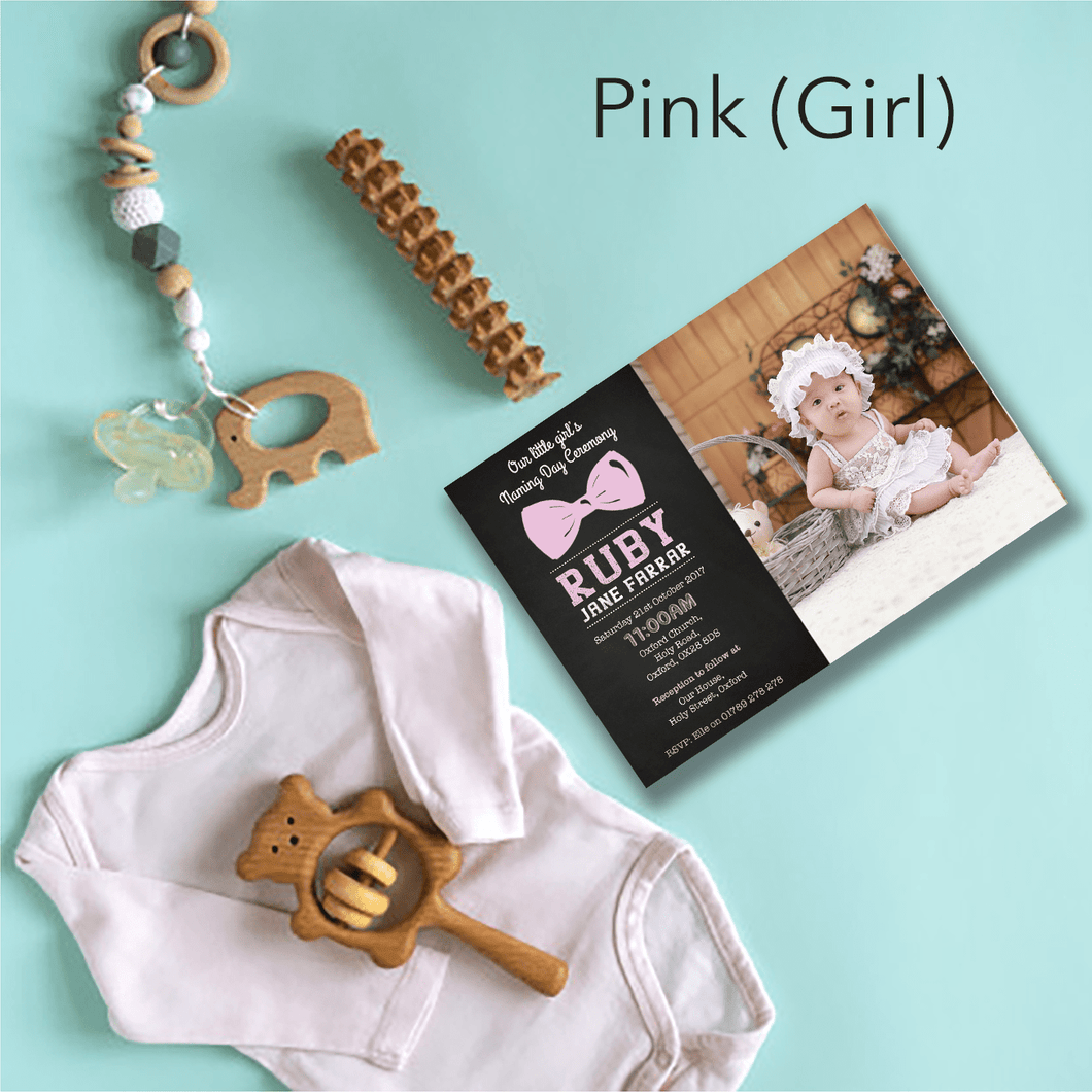 Aspire Designs Personalised Modern Photo Christening | Baptism | Naming Day Invitations 10 / Yes / Pink (Girl)