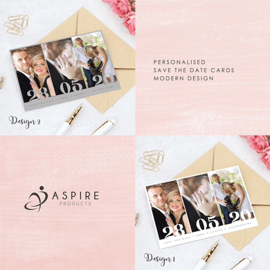 Aspire Designs Personalised Modern Wedding Save the Date Cards | Save The Date A6 Postcards