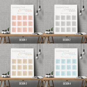 Aspire Designs Personalised Modern Wedding Seating Plan Planner Table Plans Chart Layout