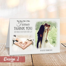 Load image into Gallery viewer, Personalised Modern Wedding Thank You Cards with Photo | A6 Folded