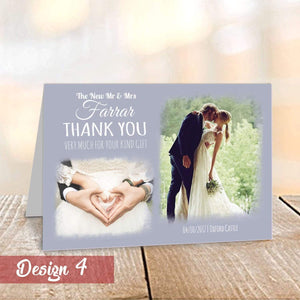 Personalised Modern Wedding Thank You Cards with Photo | A6 Folded