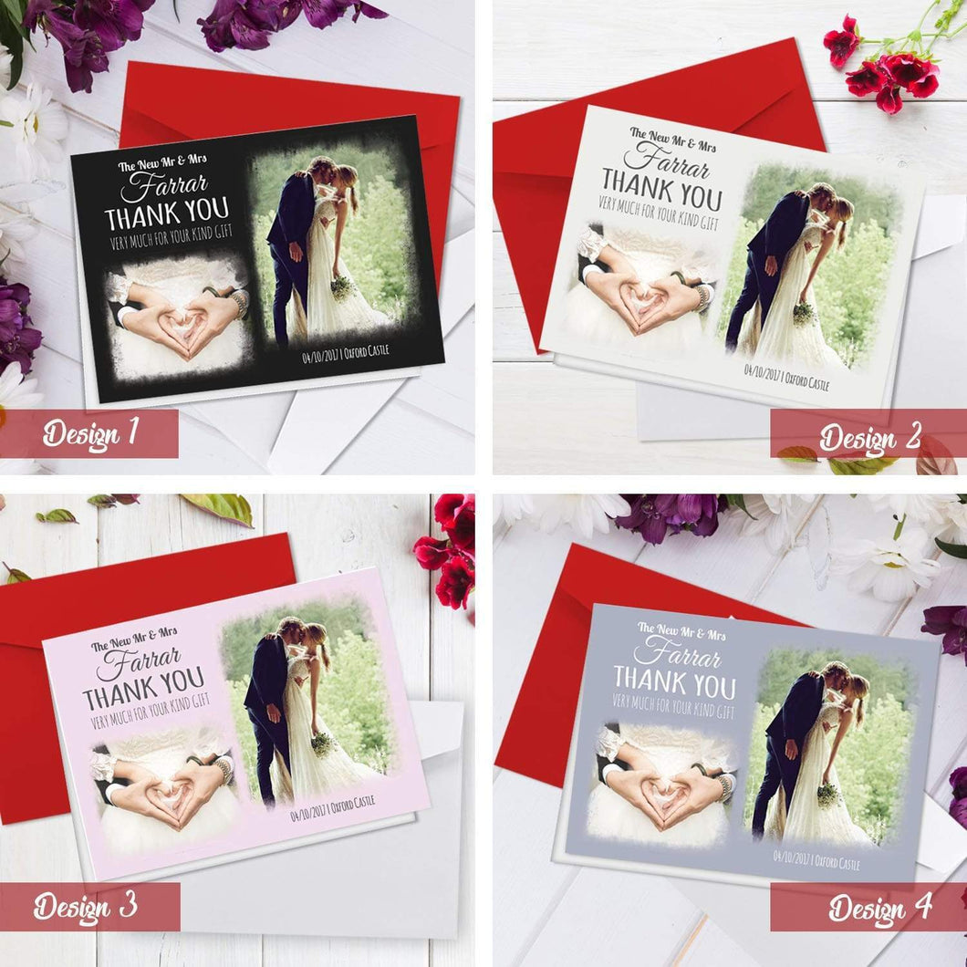 Aspire Designs Personalised Modern Wedding Thank You Cards with Photo | A6 Folded 1 / No / Yes