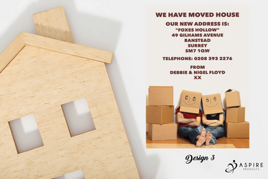 Aspire Designs Personalised Moving Boxes Change of Address New Home Announcement Cards
