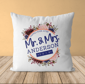 Aspire Designs Personalised Mr. and Mrs. Wedding Printed Pillow Cushion | Pillowcase Cover | Gift Idea