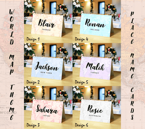 Aspire Designs Personalised Name Place Cards for Wedding, Conference & Party | World Map Theme for Travel Couples