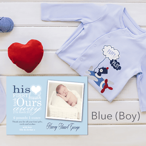 Aspire Designs Personalised New Baby Girl / Boy Birth Announcement Thank You Cards 10 / Yes / Blue (Boy)