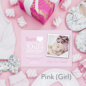 Aspire Designs Personalised New Baby Girl / Boy Birth Announcement Thank You Cards 10 / Yes / Pink (Girl)