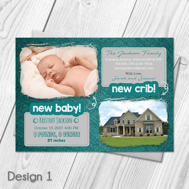 Aspire Designs Personalised New Baby New Home Announcement Cards 10 / Yes / Design 1