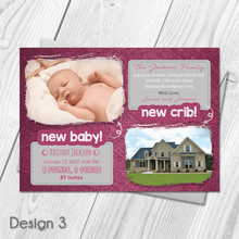 Load image into Gallery viewer, Personalised New Baby New Home Announcement Cards