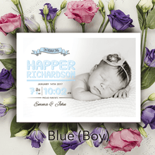 Load image into Gallery viewer, Aspire Designs Personalised New Baby Photo Birth Announcement Thank You Cards 10 / Yes / Blue (Boy)