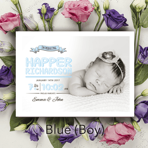 Aspire Designs Personalised New Baby Photo Birth Announcement Thank You Cards 10 / Yes / Blue (Boy)