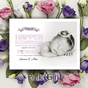 Aspire Designs Personalised New Baby Photo Birth Announcement Thank You Cards 10 / Yes / Pink (Girl)