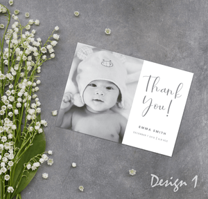 Aspire Designs Personalised New Baby Thank You Cards | Name / Weight | Baby Photo | Boy Girl 10 / Yes / Design 1