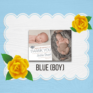 Aspire Designs Personalised New Baby Thank You Cards / Newborn Photo Announcement 10 / Yes / Blue (Boy)