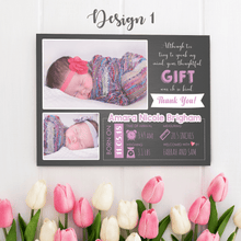 Load image into Gallery viewer, Aspire Designs Personalised New Baby Thank You Cards with Photos - Weight, Birth Date & Time 10 / Yes / Design 1