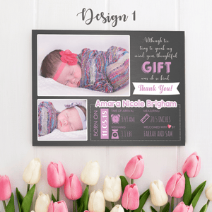 Aspire Designs Personalised New Baby Thank You Cards with Photos - Weight, Birth Date & Time 10 / Yes / Design 1