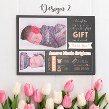 Load image into Gallery viewer, Aspire Designs Personalised New Baby Thank You Cards with Photos - Weight, Birth Date & Time 10 / Yes / Design 2