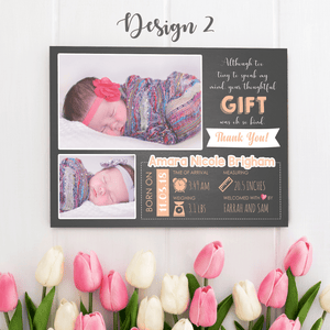 Aspire Designs Personalised New Baby Thank You Cards with Photos - Weight, Birth Date & Time 10 / Yes / Design 2
