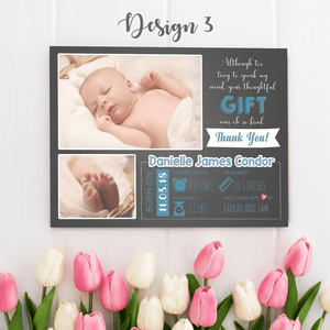 Aspire Designs Personalised New Baby Thank You Cards with Photos - Weight, Birth Date & Time 10 / Yes / Design 3