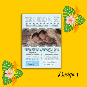 Aspire Designs Personalised New Baby Twin Birth Boy Girl Announcement Cards 10 / Yes / Design 1