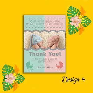Aspire Designs Personalised New Baby Twin Birth Boy Girl Thank You Cards 10 / Yes / Design 2