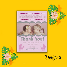 Load image into Gallery viewer, Aspire Designs Personalised New Baby Twin Birth Boy Girl Thank You Cards 10 / Yes / Design 3