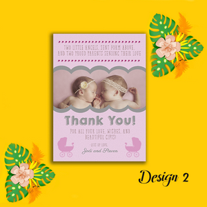 Aspire Designs Personalised New Baby Twin Birth Boy Girl Thank You Cards 10 / Yes / Design 3