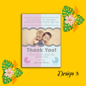 Aspire Designs Personalised New Baby Twin Birth Boy Girl Thank You Cards 10 / Yes / Design 4
