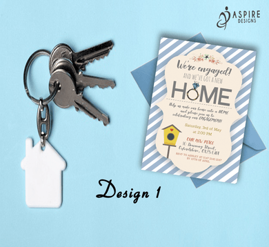 Aspire Designs Personalised New Home and Engagement Announcement Cards 10 / Yes / Design 1