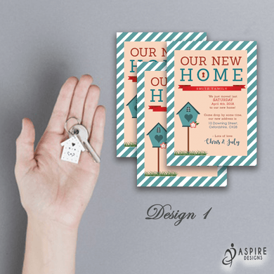 Aspire Designs Personalised New Home | Moving House | Change of Address Announcement Cards 10 / Yes / Design 1