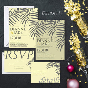 Aspire Designs Personalised New Year Wedding Invitation Set | Day/Evening Invite, RSVP & Info Cards 10 / Yes / Invitation Only