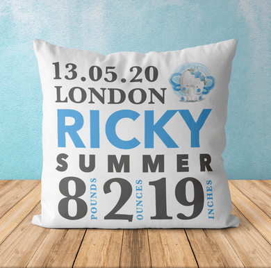 Aspire Designs Personalised Newborn Baby Boy Photo Cushion | Pillow Case Cover & Insert Yes / Single Sided