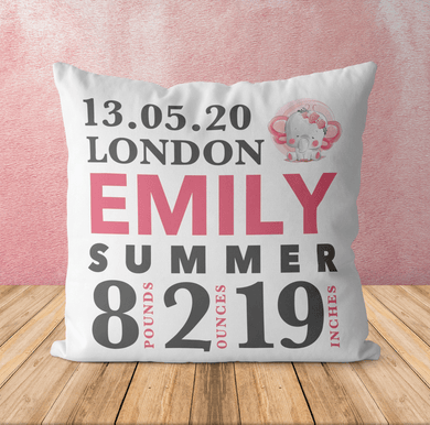 Aspire Designs Personalised Newborn Baby Girl Photo Cushion | Pillow Case Cover & Insert Yes / Single Sided