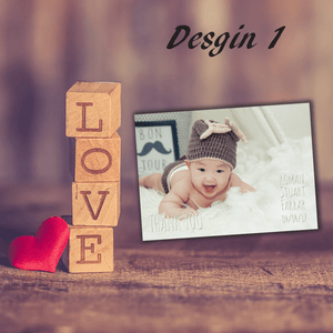 Aspire Designs Personalised Newborn Photo Thank You Cards | New Baby Cards 10 / Yes / Design 1