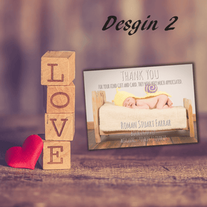 Aspire Designs Personalised Newborn Photo Thank You Cards | New Baby Cards 10 / Yes / Design 2