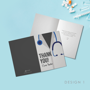 Aspire Designs Personalised Nurse Folded Thank You Card | Medical Frontliner Folded Thank You Card with Envelope Design 1 / Standard (132x185mm) / Gloss Finish
