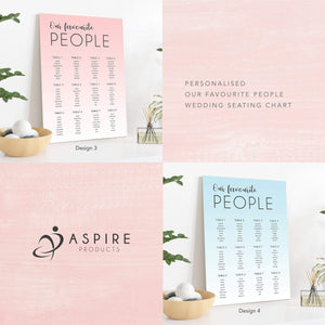 Aspire Designs Personalised Our Favourite People Wedding Seating Plan Chart Board | A1 A2 A3