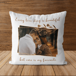 Aspire Designs Personalised Our Love Story Themed Pillowcase Cover & Insert | Couples Gift Idea Yes / Single Sided