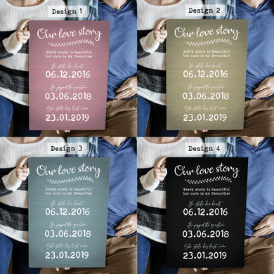 Aspire Designs Personalised Our Story Wedding Board Chart Signage | Wedding Board Sign A1 A2 A3