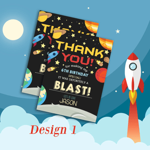 Personalised Outer Space Theme Kids Birthday Thank You Cards