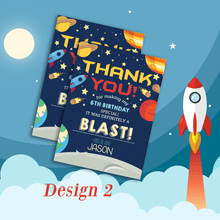 Load image into Gallery viewer, Aspire Designs Personalised Outer Space Theme Kids Birthday Thank You Cards 10 / Yes / Design 2
