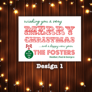 Aspire Designs Personalised Pack of Christmas Cards | Merry Christmas Postcards 10 / Yes / Design 1