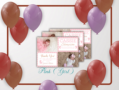Aspire Designs Personalised Photo Boy / Girl Thank You Cards | New Baby Announcement 10 / Yes / Pink (Girl)
