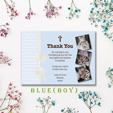Load image into Gallery viewer, Aspire Designs Personalised Photo Collage Girl or Boy Christening Baptism Thank You Cards 10 / Yes / Blue (Boy)