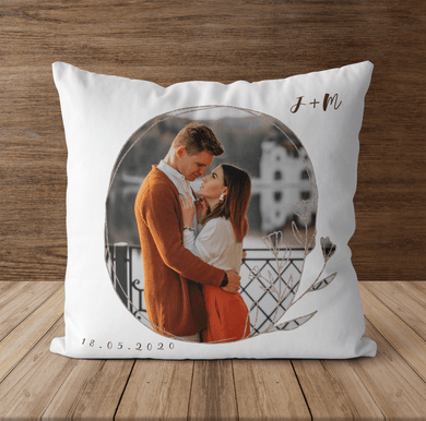 Aspire Designs Personalised Photo Cushion Initial and Date Pillowcase | Couples Gift Idea Yes / Single Sided